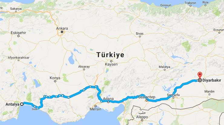 Antalya Diyarbakır Arası Kaç Km Antalya Kaç Km